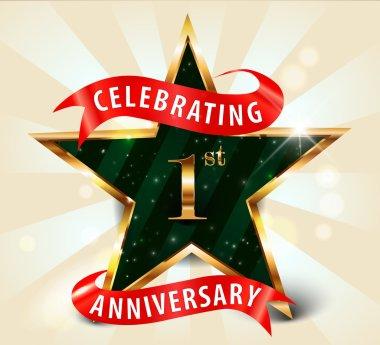 1 Year anniversary celebration golden star ribbon, celebrating 1st anniversary decorative golden invitation card - vector eps10