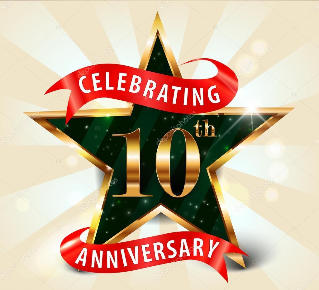 10 Year anniversary celebration golden star ribbon, celebrating 10th anniversary decorative golden invitation card - vector eps10
