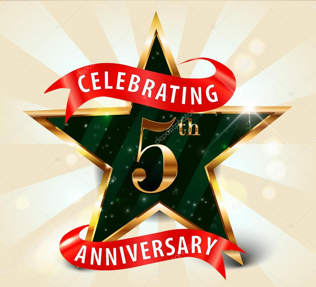 Year anniversary celebration golden star ribbon