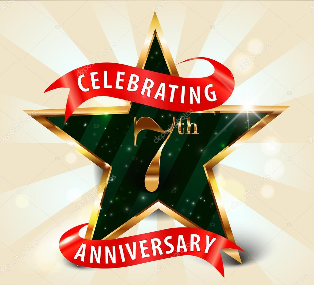 7 Year anniversary celebration golden star ribbon, celebrating 7th ...