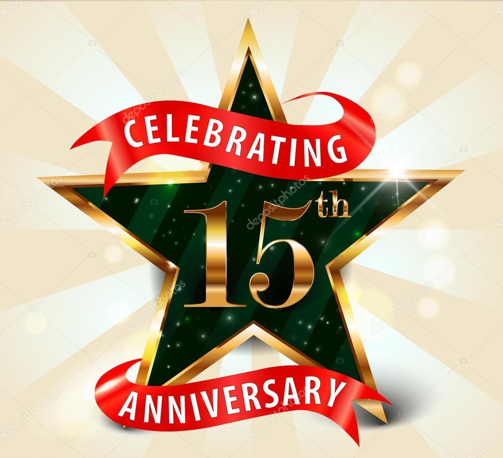 15 Year anniversary celebration golden star ribbon, celebrating 15th ...
