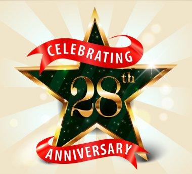 28 Year anniversary celebration golden star ribbon, celebrating 28th anniversary decorative golden invitation card