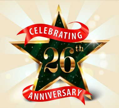 26 Year anniversary celebration golden star ribbon, celebrating 26th anniversary decorative golden invitation card
