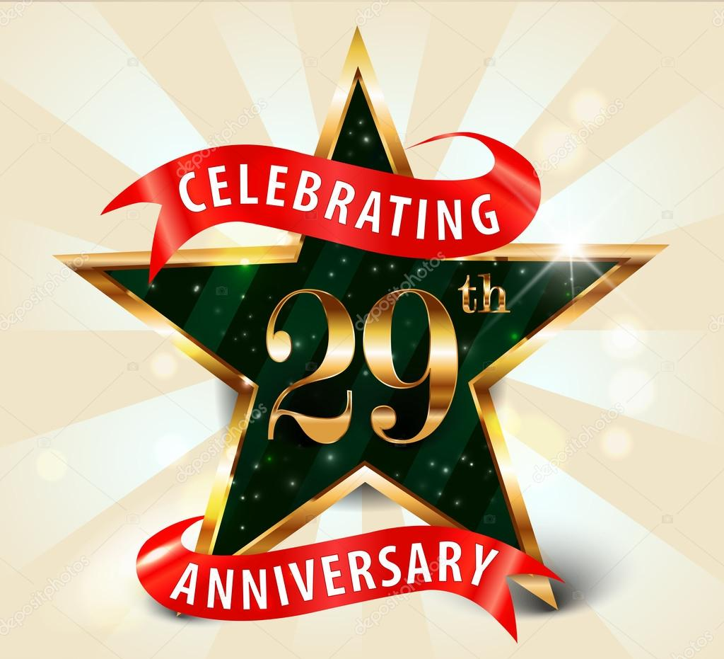 29 Year Anniversary Celebration Golden Star Ribbon Celebrating 29th
