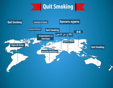 Quit smoking concept word in different languages with world map- vector eps10