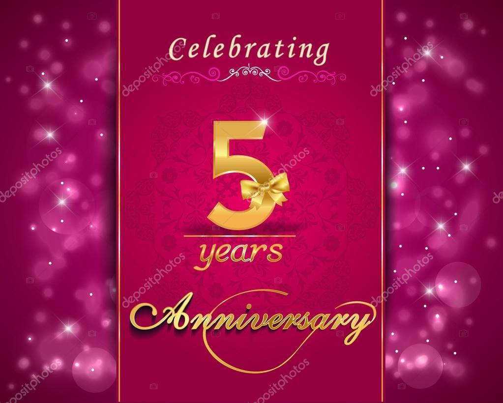 5 year anniversary celebration sparkling card, 5th ...