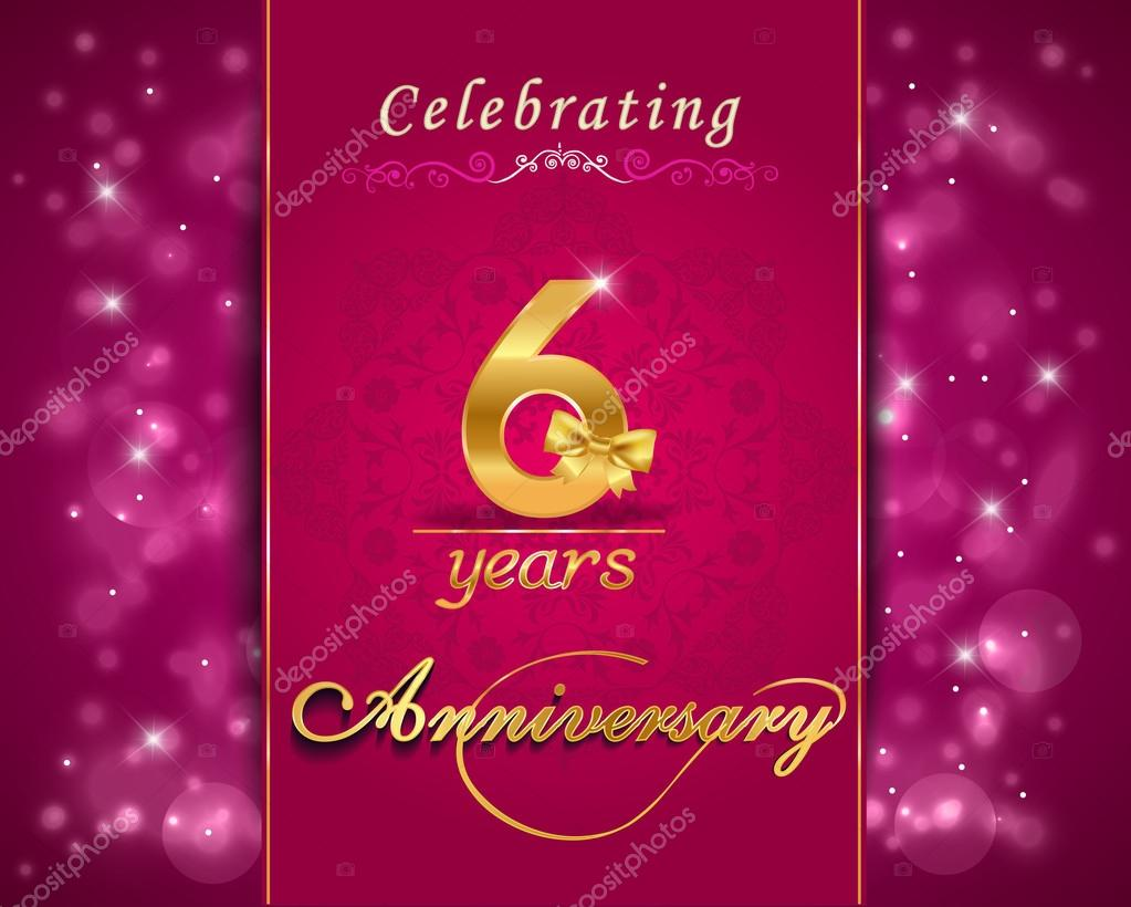 6 year anniversary celebration sparkling card, 6th anniversary vibrant background - vector eps10