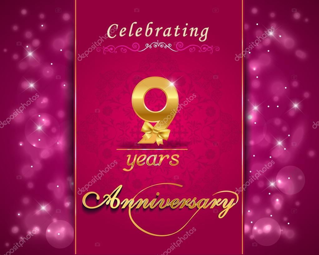 9 Jahre Hochzeitstag feiern glitzernde, 9. Jahrestag lebendigen ...