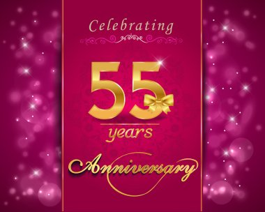 55 year anniversary celebration sparkling card, 55th anniversary vibrant background - vector eps1