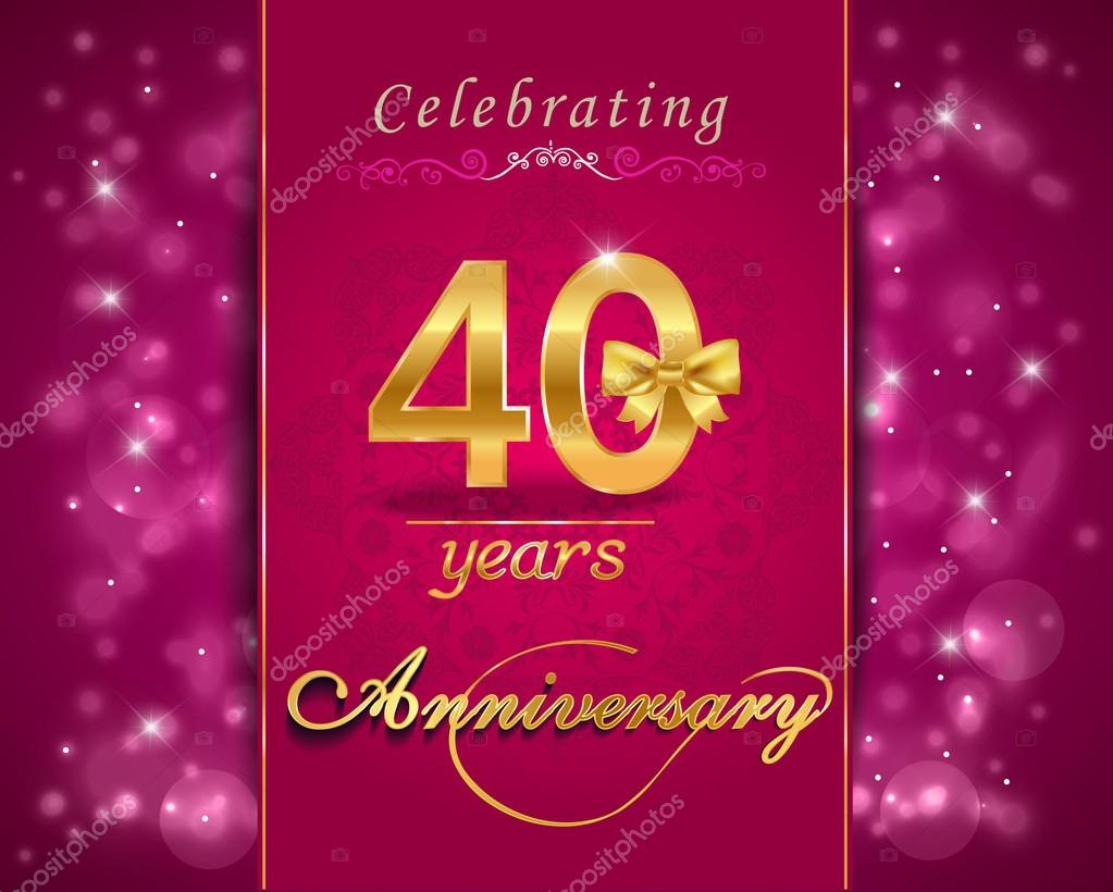40 year anniversary celebration sparkling card, 40th anniversary vibrant background - vector eps1