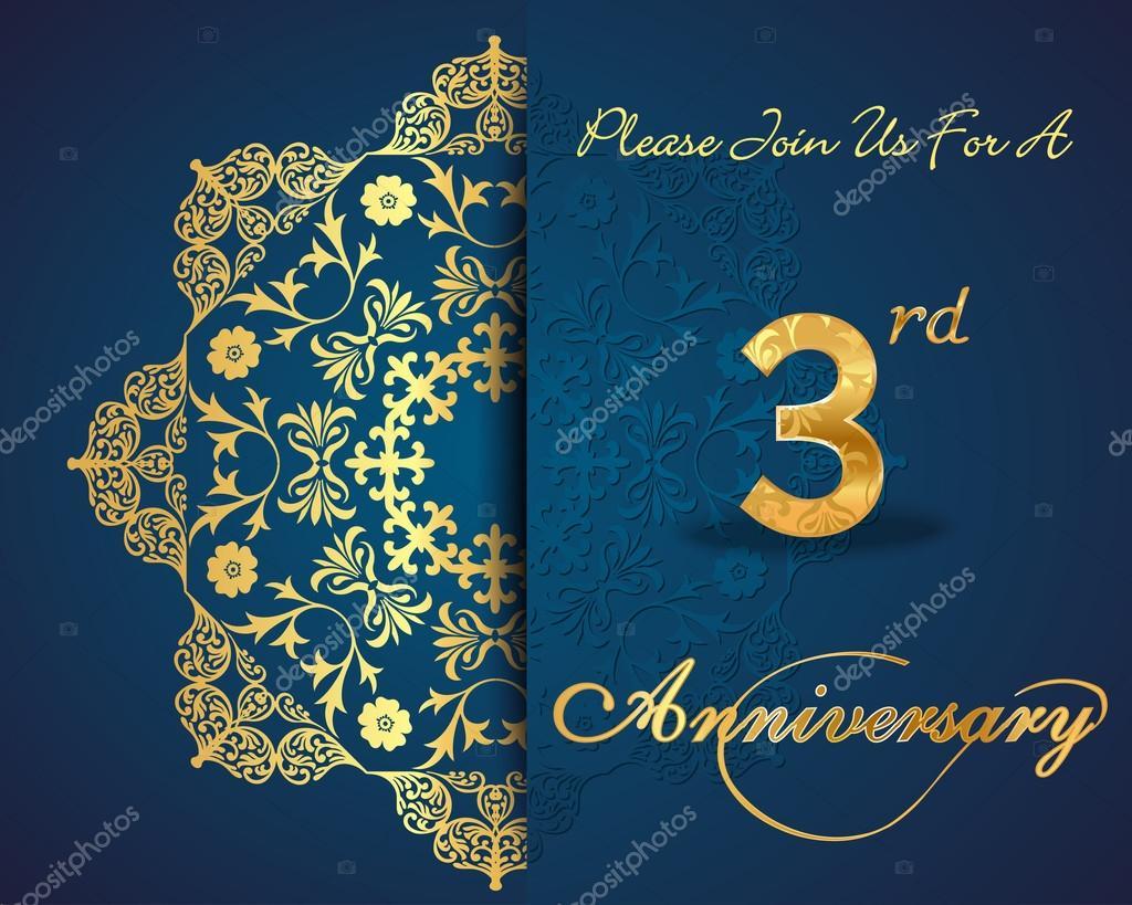 3 year anniversary celebration pattern design 3rd anniversary created anniversary card in vector vector by atulvermabhai stopboris Images