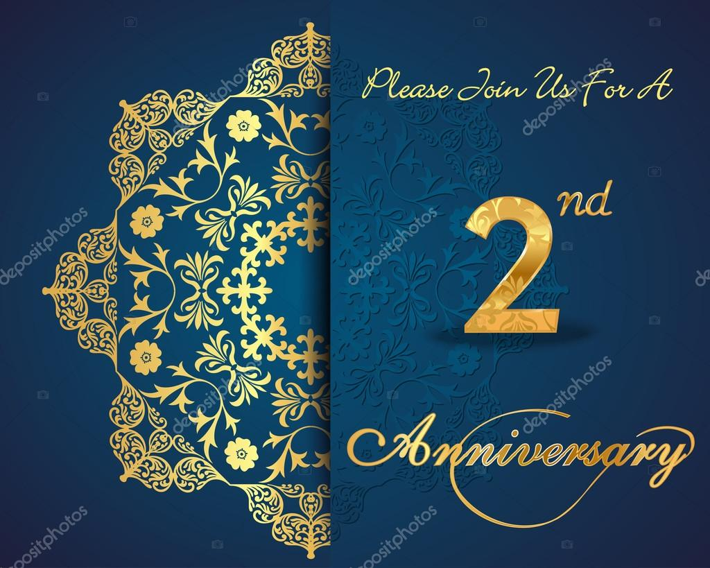 2 year anniversary celebration pattern design 2nd anniversary created anniversary card in vector vector by atulvermabhai stopboris Gallery