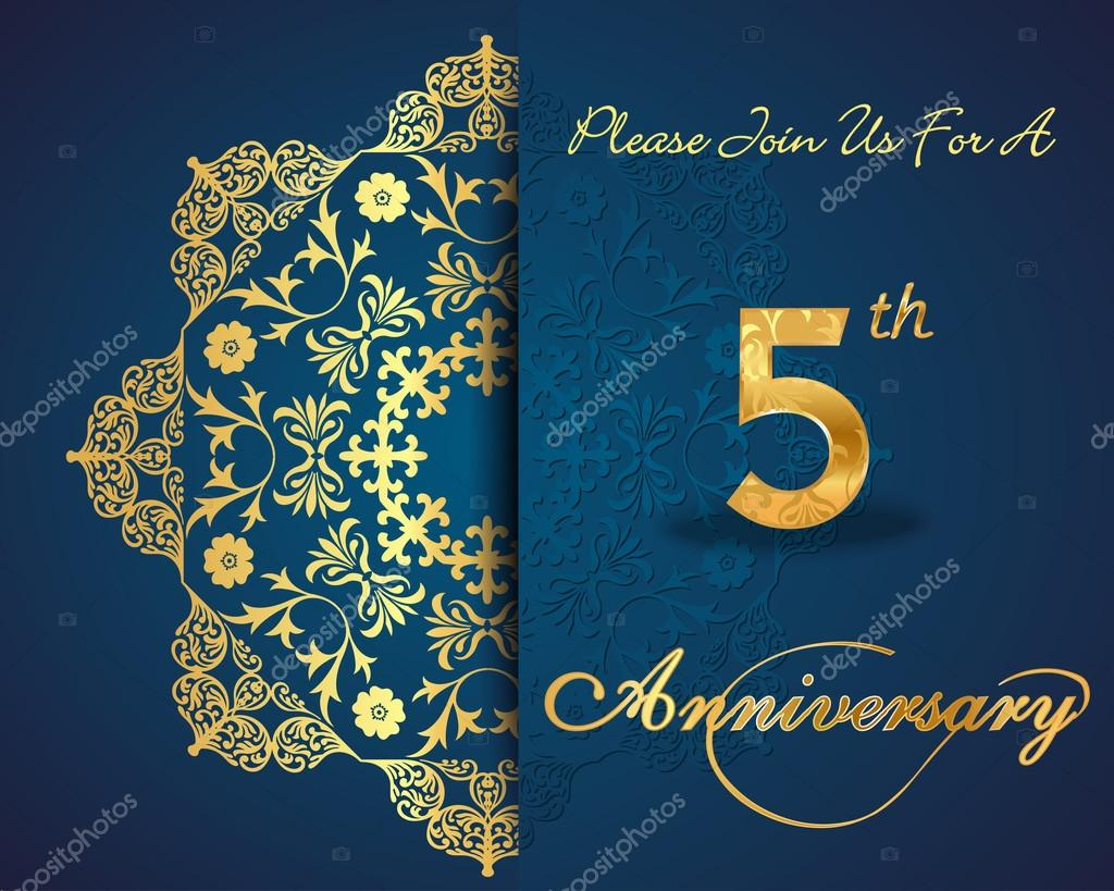 5 year anniversary celebration pattern design 5th anniversary created anniversary card in vector vector by atulvermabhai stopboris Gallery
