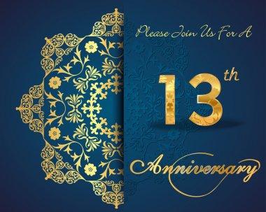 13 year anniversary celebration pattern design, 13th anniversary decorative floral elements, ornate background, invitation card, vector eps10 clip art vector