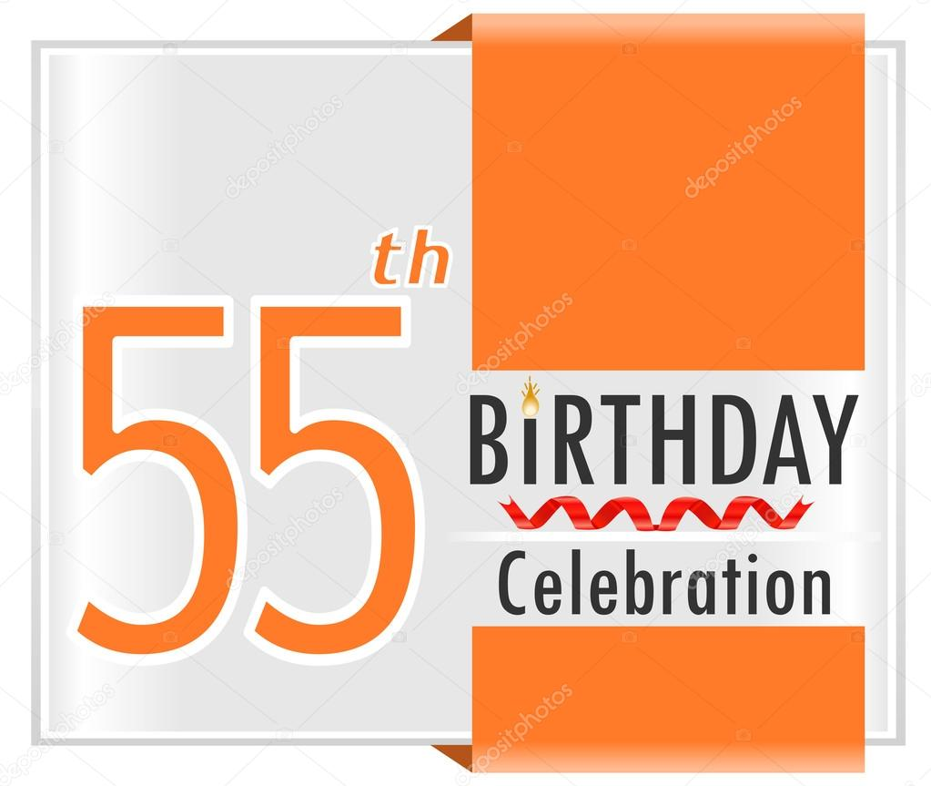55 Year Happy Birthday Card With Ribbons 55th Vector Illustration EPS10 By