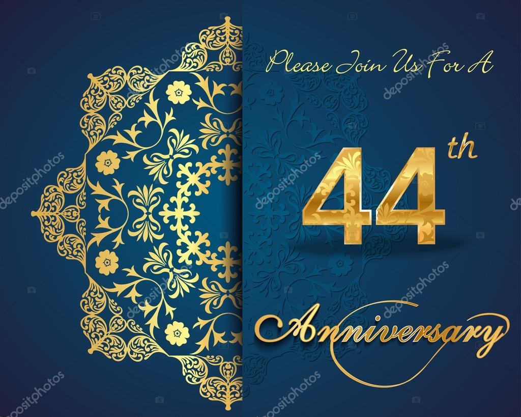 44 year anniversary stock vector atulvermabhai 59447649 44 year anniversary celebration pattern design 44th anniversary decorative floral elements ornate background invitation card vector eps10 vector by biocorpaavc Gallery