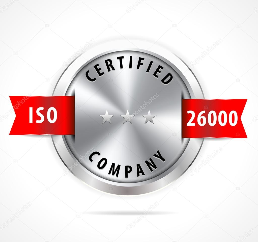 ISO 26000 certified, silver badge with red ribbon, vector eps10 — Wektor od  atulvermabhai