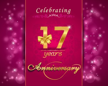 17 year anniversary celebration sparkling card