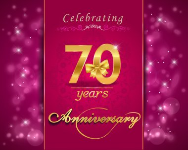 70 year anniversary celebration sparkling card