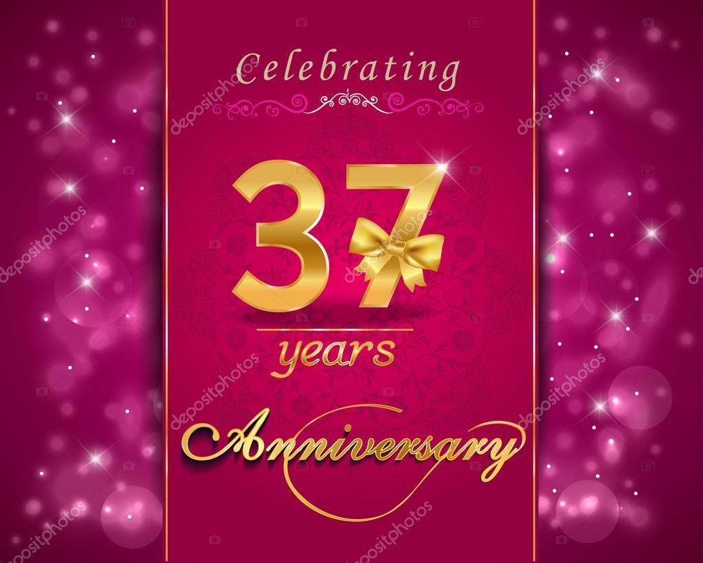 37 Year Anniversary Celebration Sparkling Card Stock