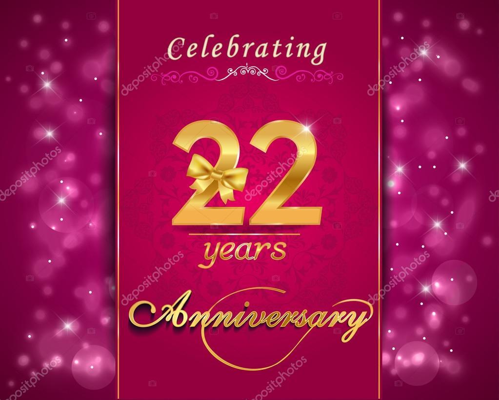 22 Year Anniversary Celebration Sparkling Card Stock