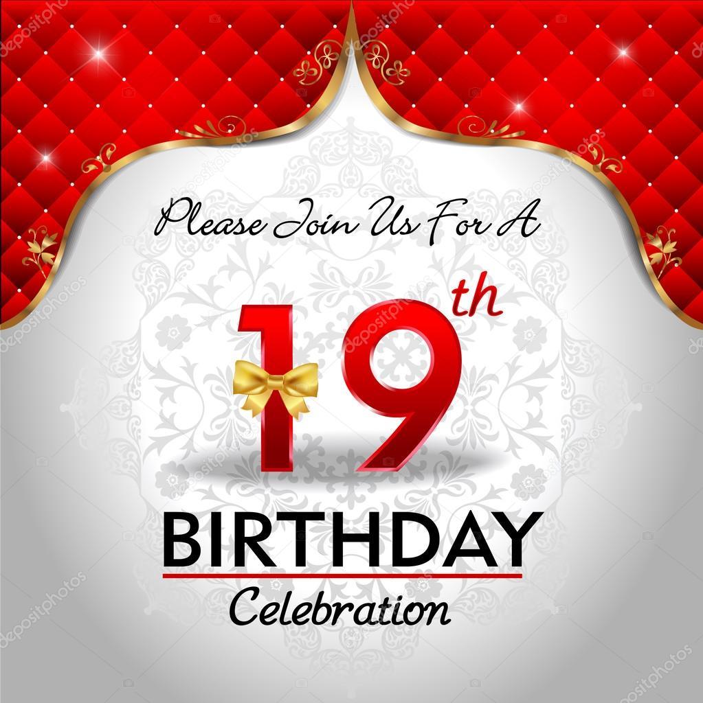 19 Jaar Verjaardag Vieren Stockvector C Atulvermabhai 62444043