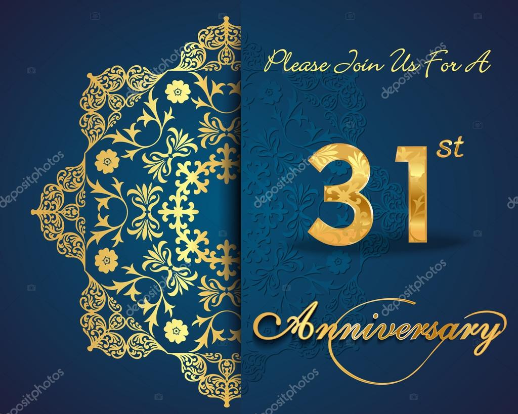 31 year anniversary celebration pattern stock vector 31 year anniversary celebration pattern design 31st anniversary decorative floral elements ornate background invitation card vector by atulvermabhai stopboris Images