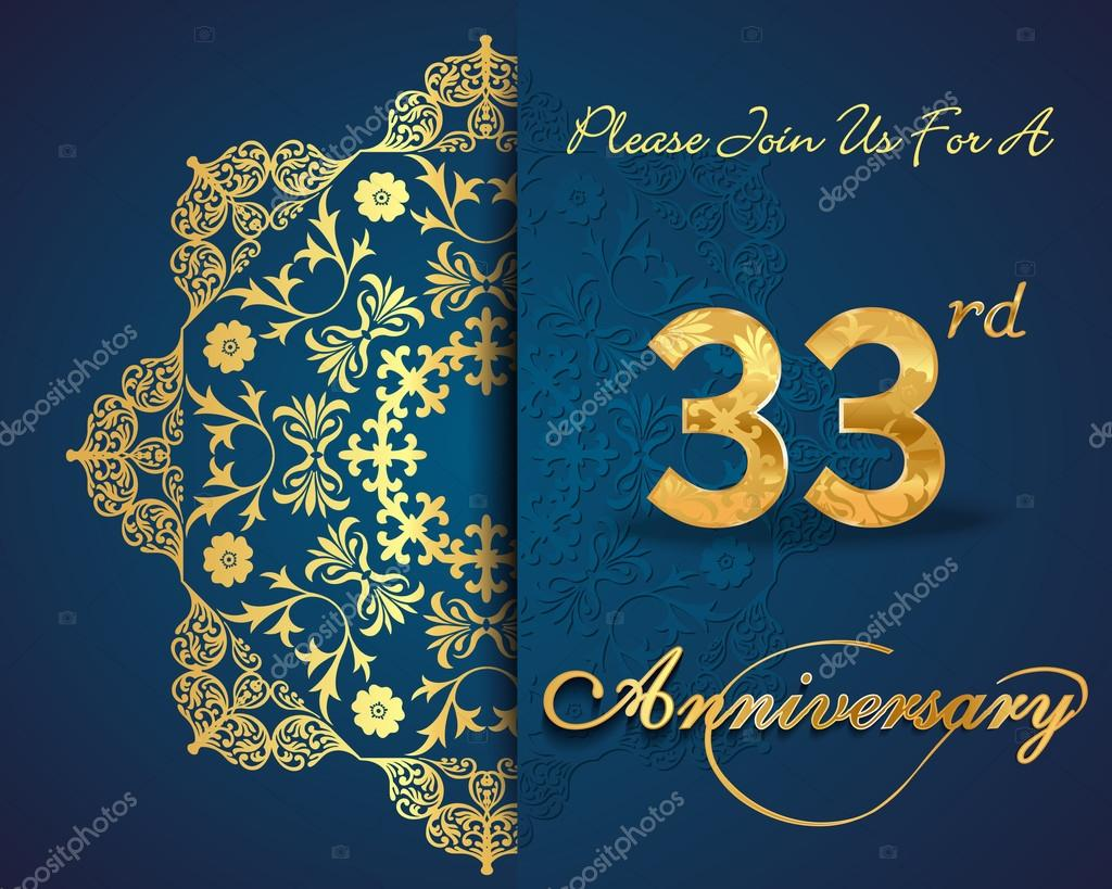 Anniversario Matrimonio 33 Anni.33 Year Anniversary Celebration Pattern Stock Vector