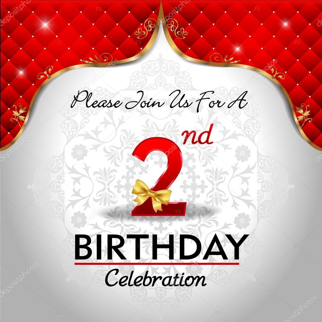 2 Jaar Verjaardag Vieren Stockvector C Atulvermabhai 62445263