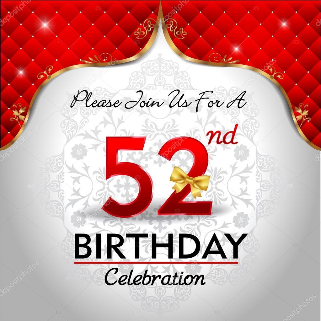 Celebrating 52 years birthday — Stock Vector