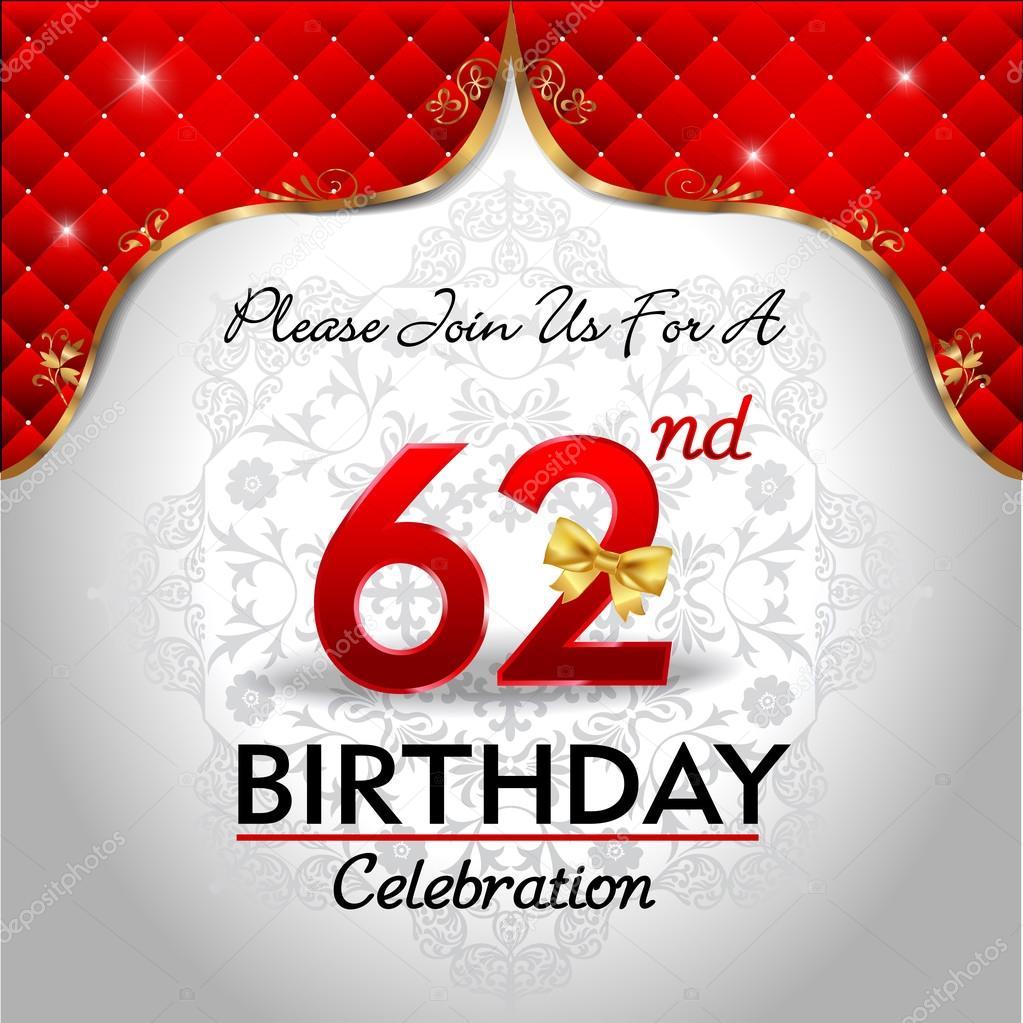 62 Jaar Verjaardag Vieren Stockvector 169 Atulvermabhai