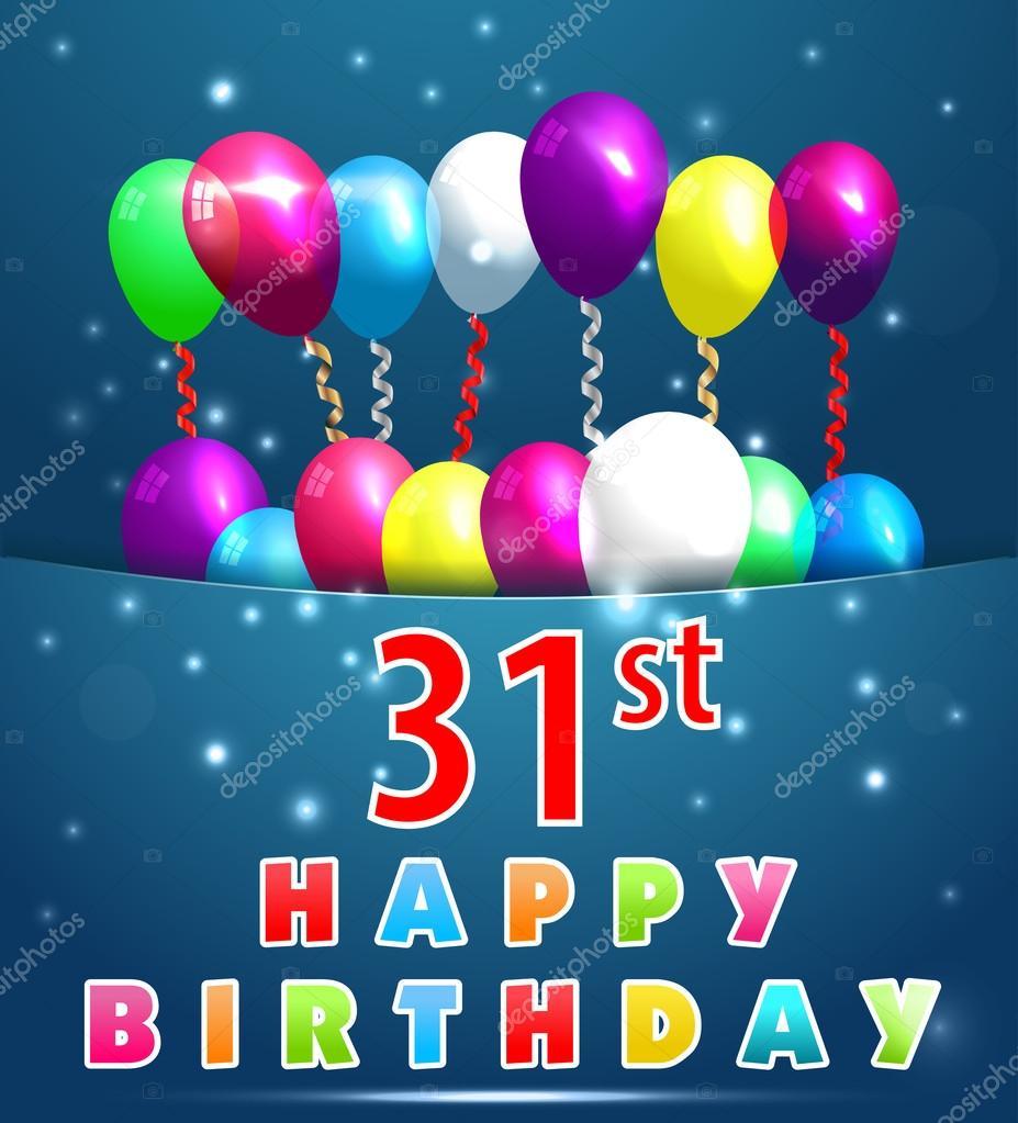 31 Jahre Geburtstagskarte mit Luftballons — Stockvektor