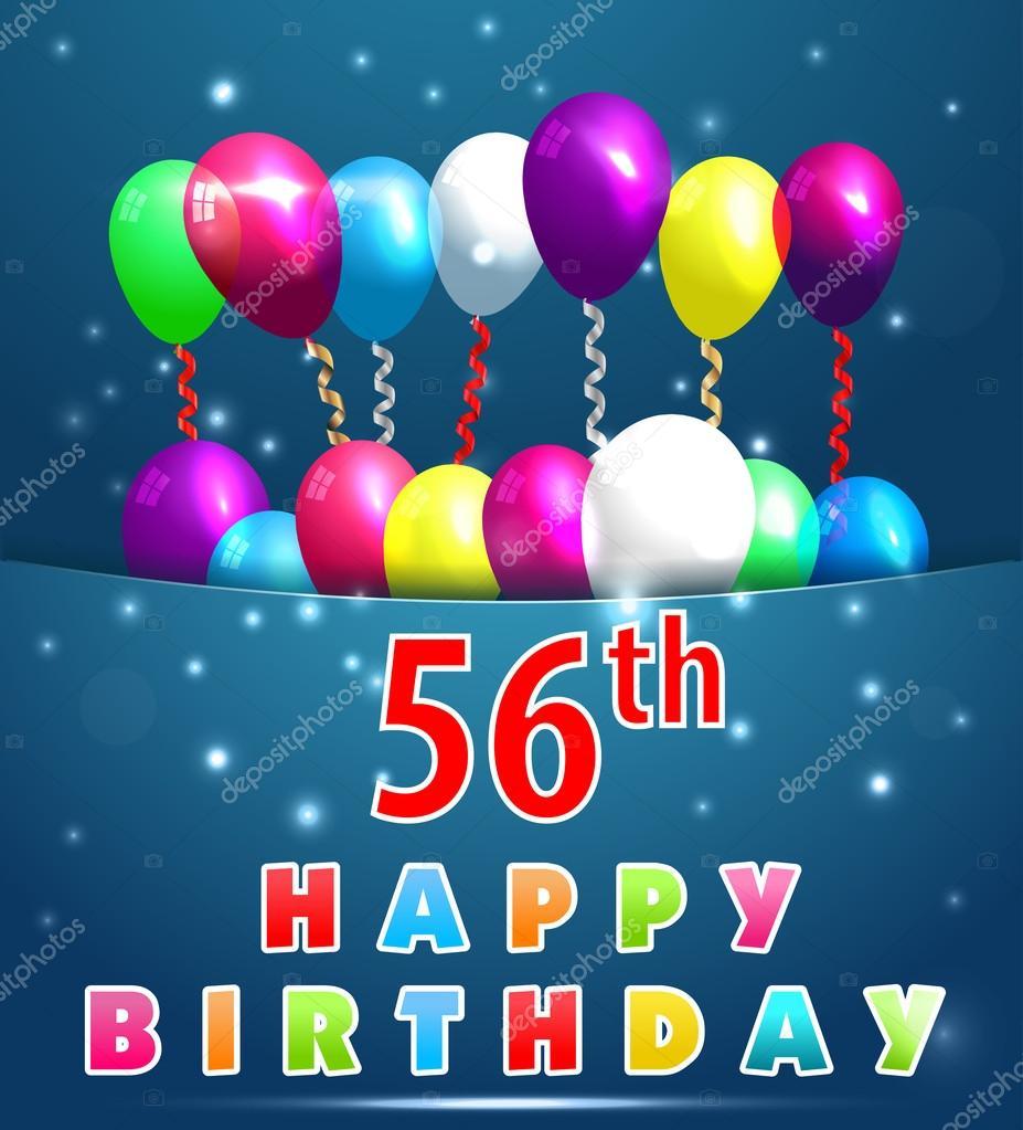 56 jaar 56 jaar Happy Birthday Card — Stockvector © atulvermabhai #64053579 56 jaar