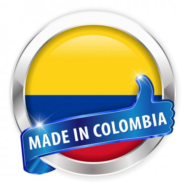 Made in colombia silver badge isolated button