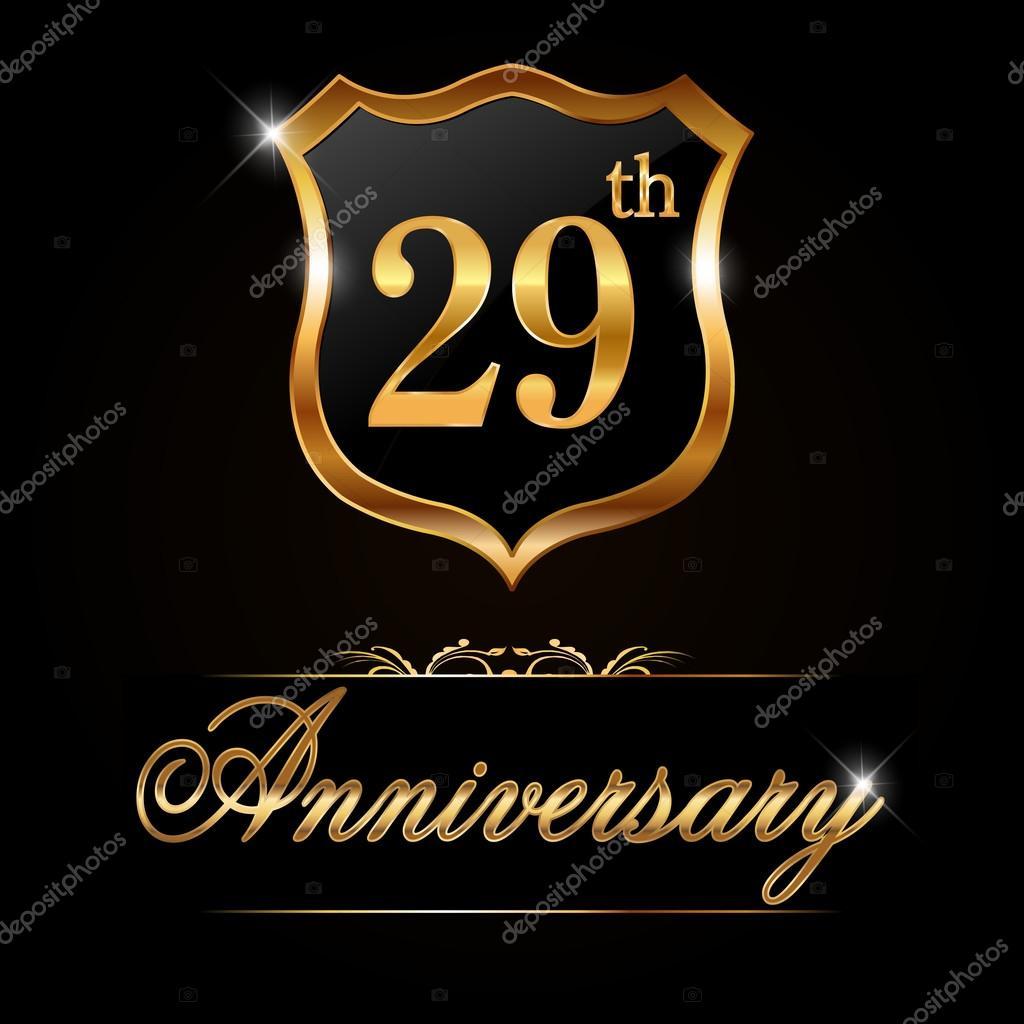 29 Year Anniversary Golden Label Stock Vector Atulvermabhai