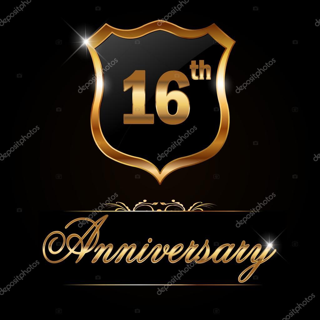 16 Verjaardag Gouden Jaaraanduiding Stockvector C Atulvermabhai