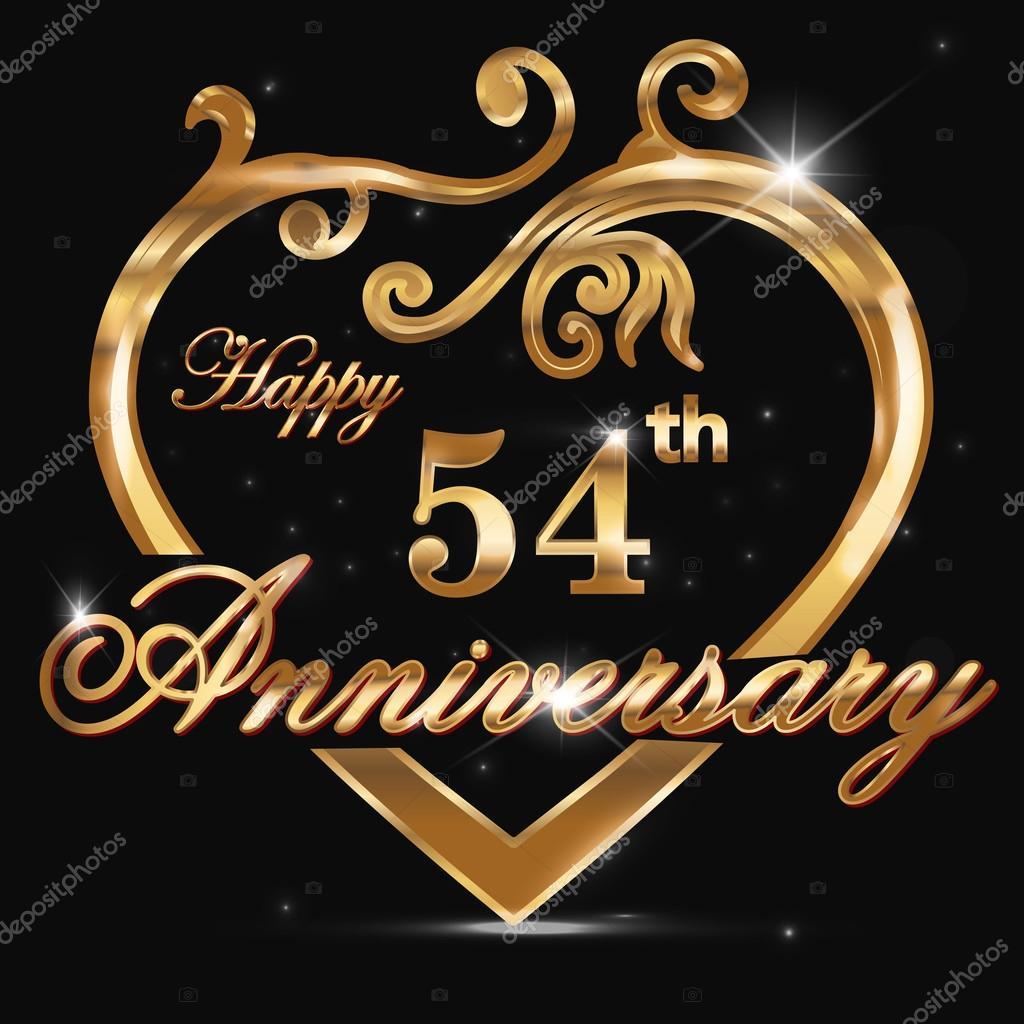 coeur d 39 or anniversaire 54 ans image vectorielle atulvermabhai 65989233. Black Bedroom Furniture Sets. Home Design Ideas