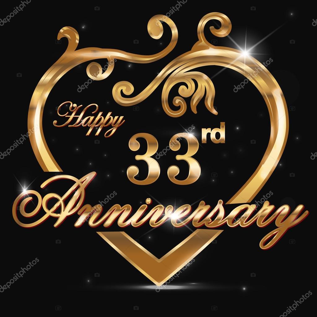 33 Jaar Verjaardag Gouden Hart Stockvector C Atulvermabhai 65989347