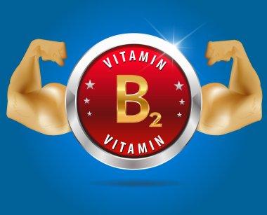 Vitamin B2 label silver badge