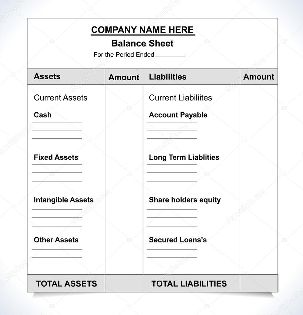 Balance Sheet Format U2014 Stock Vector © Atulvermabhai 69812857 Depositphotos  69812857 Stock Illustration Balance Sheet  Balance Sheet Format Download
