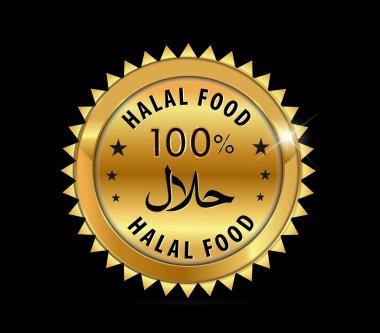 100 % halal food Product Label purity golden badge fresh- vector eps10