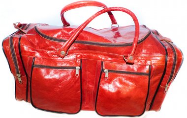 Sport bags for women red saturated color camel leather