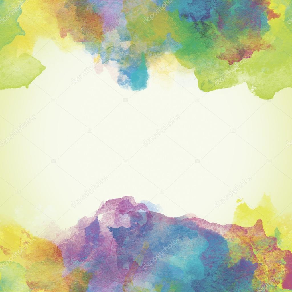 Sfondo Acquerello Carta Viola Verde E Giallo Foto Stock