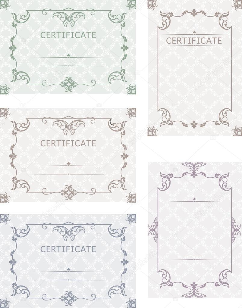 Eine Reihe von Zertifikaten. Vorlage-Zertifikate, Diplome, Briefe ...