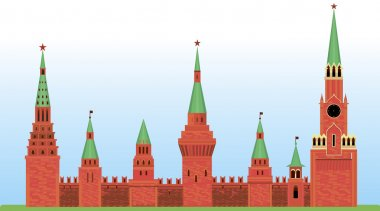 Red Kremlin arranged horizontally on the grass. Castle towers