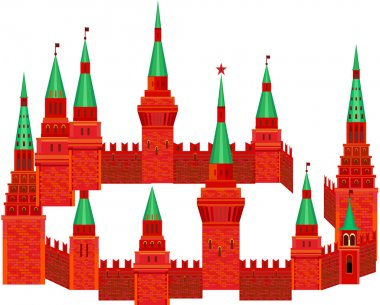 Red Kremlin are in the form of a circle on a white background. Fortress with towers and a clock