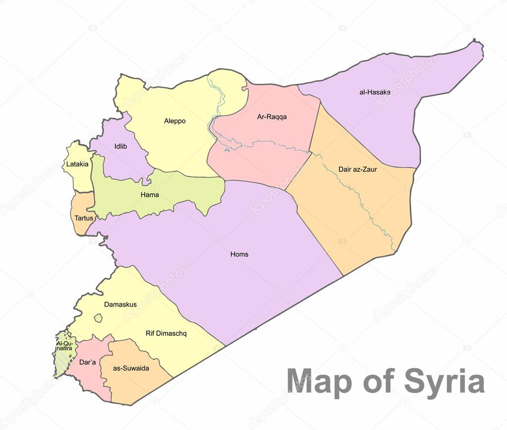 Detailed map of Syria on a white background Syria highly detailed