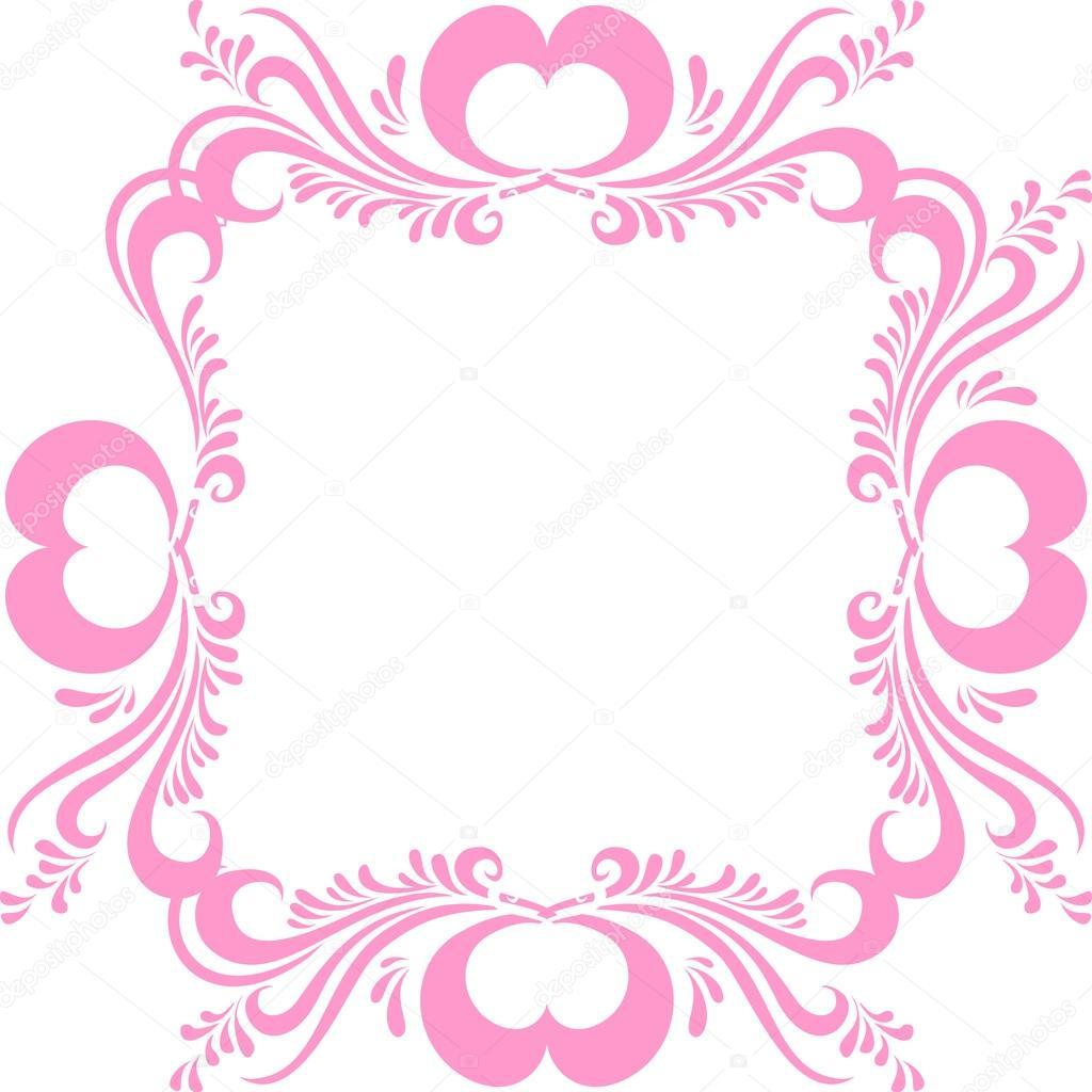 Stilisierte rosa Bilderrahmen, mit kunstvollen Muster und Herzen zum ...