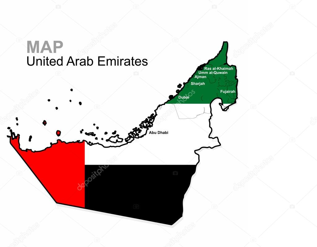 uae vector united arab emirates map divided by region administrative division map