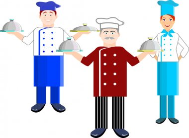 Vector set of chef man and chef women. With trays on their hands